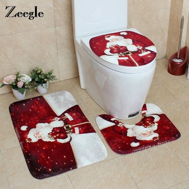 Zeegle 3PCS Bath Toilet mat Sets Bathroom Christmas Non-Slip Floor Mat Lid Toilet Cover Toilet Mat Set Home Decoration Mat