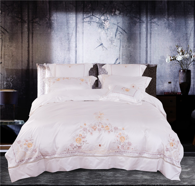 4/6Pcs AB side silk/cotton Bedding set Stain flowers Embroidery Double King Queen size Bedsheet set Duvet cover Fit sheet Pillow4/6Pcs AB side silk/cotton Bedding set Stain flowers Embroidery Double King Queen size Bedsheet set Duvet cover Fit sheet Pillow