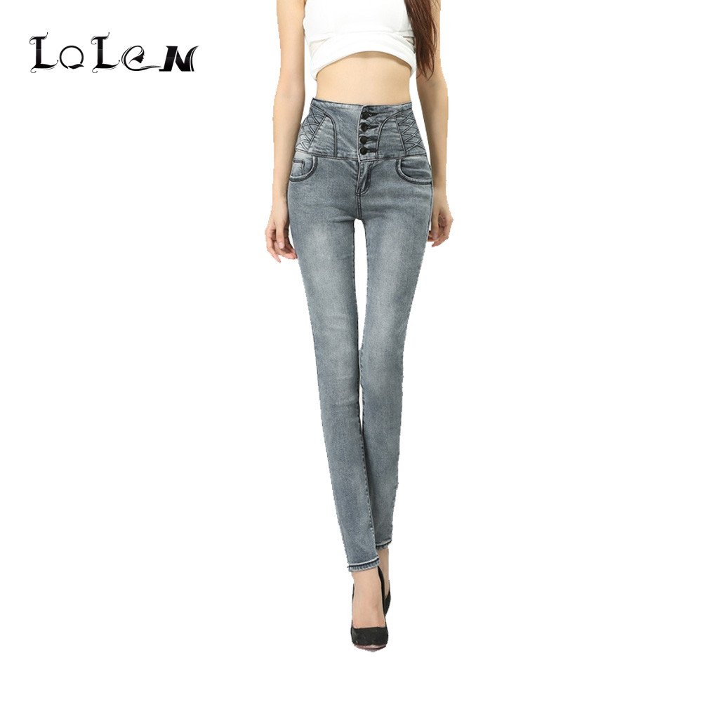 ᗐ2017 New Plus Size Breasted ჱ Waist Waist Jeans Casual ...