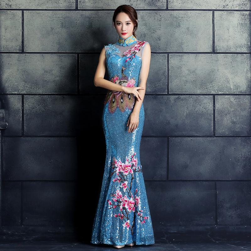 Элегантные женские Павлин, цветок Qipao винтажные аппликации блёстками китайский женский халат со стоячим воротником, с цветочным принтом китайская Невеста Свадебное банкетное платье - Цвет: Lake Blue