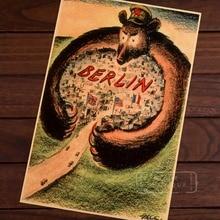 Aliadas en las armas del oso comunista Berlin WW2 cartel Vintage propaganda Retro decorativo de la pared de la lona pegatinas Posters Bar decoración del hogar