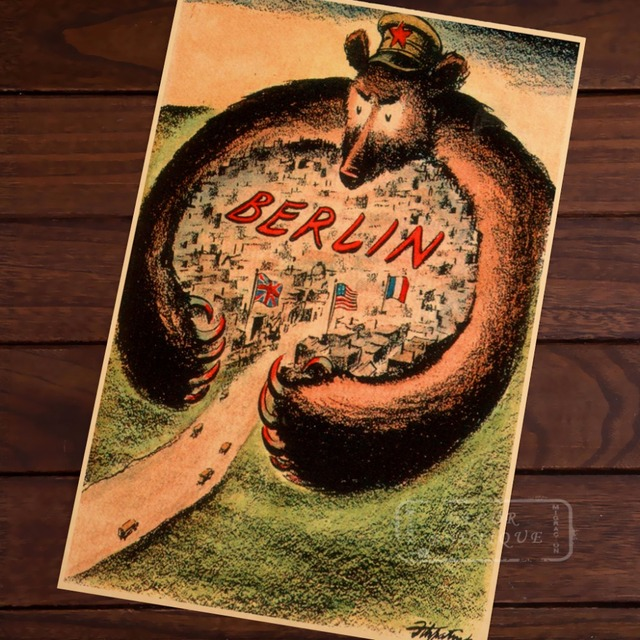Allies In Communist Bear Arms Berlin Ww2 Vintage Poster