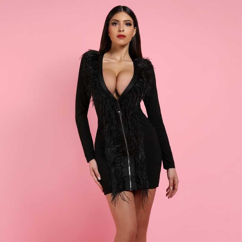 DeerLady robes de soirée pour femmes 2019 col en V plongeant robe moulante pour Clubwear Sexy noir à manches longues robe moulante avec plume