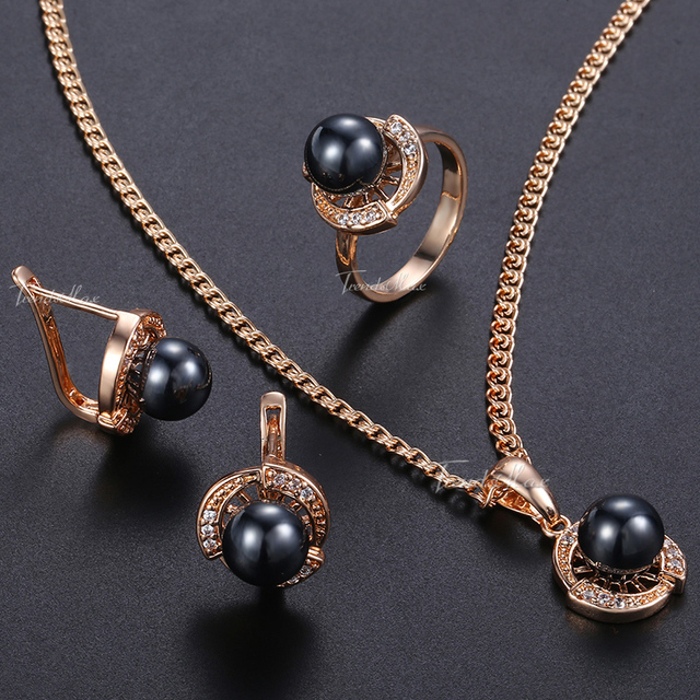 Womens Jewelry Set Earrings Ring Pendant Necklace Set 585 Rose Gold