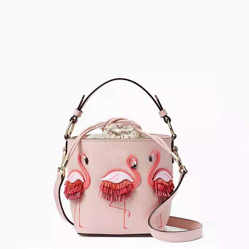 XCZJ Handmade Lace Flamingos Printing Drawstring Bucket Bags Pink PU Leather Shoulder Bags Unique Design Style Cross Body Totes стоимость