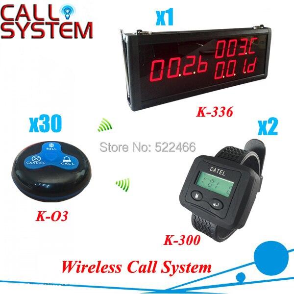 Système de téléavertisseur de Restaurant pour que custeomr appelle les serveurs, 1 affichage + 2 montres + 30 boutons, livraison gratuite