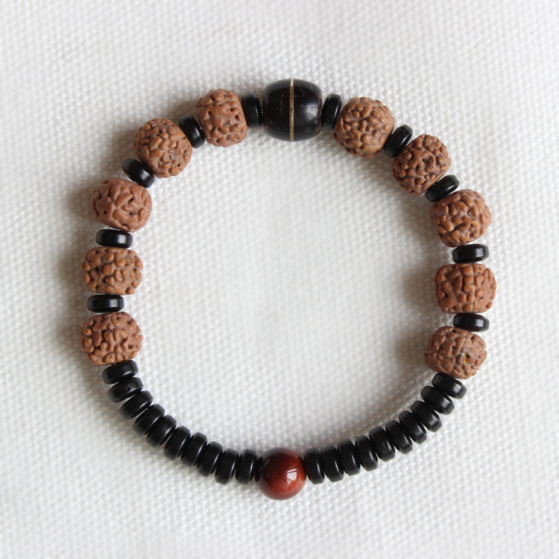 Wholesale Ethnic Natural Coconut shell With Rudraksha Tiger eye Beads Bracelet Unisex Healthy Jewelry Tibetan Stretch Bracelet stretch your dog healthy