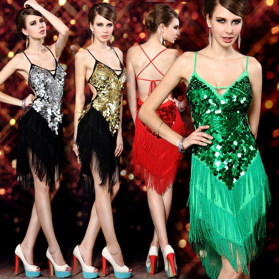 2017 Sexy Ladies Night Club Cocktail Party Standard Latin Ballroom Sequin Dance Costumes