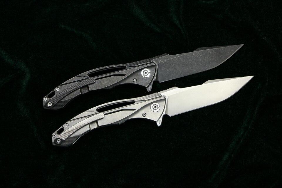 CH CH3519 Flipper folding knife s35vn blade carbon fiber Titanium handle outdoor camping hunting pocket fruit Knives EDC tool (3)