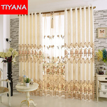 European Luxury Window Curtains for Living Room Embroidered Floral Tulle Blackout Drapes Custom Made Cortinas For