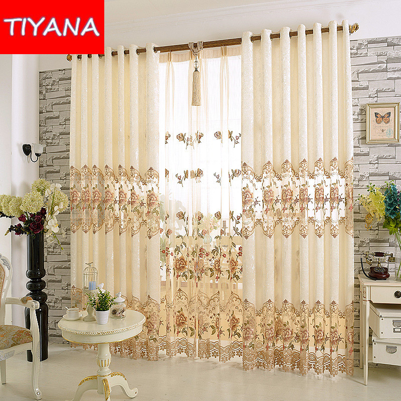 European Luxury Window font b Curtains b font for Living Room Embroidered Floral Blackout Drapes font