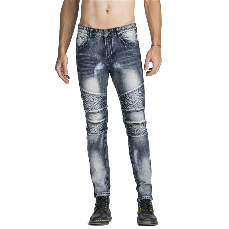 Biker Jeans Pants With Multi Zipper