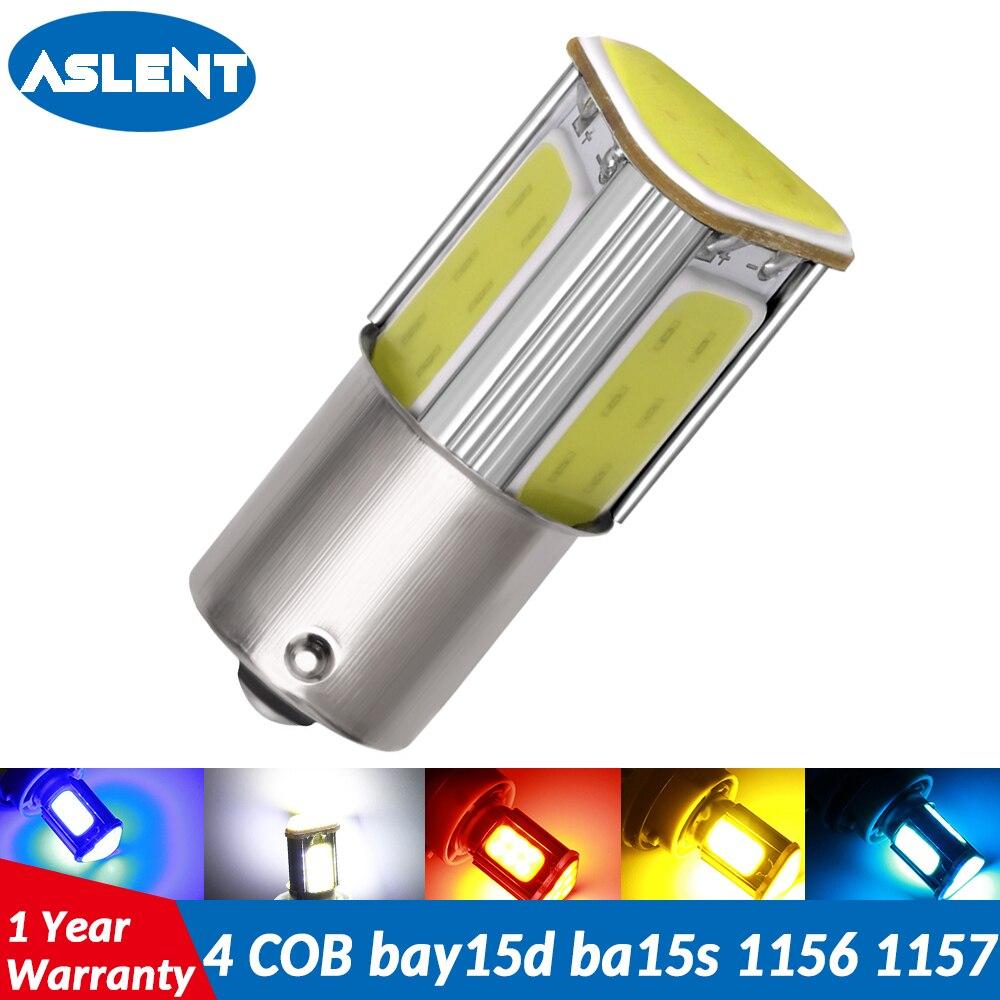 ASLENT 1pcs 1156 p21w ba15s 1157 bay15d P21/5W led COB auto Brake light White red car Bulbs rear Turn signal lamp parking 12v