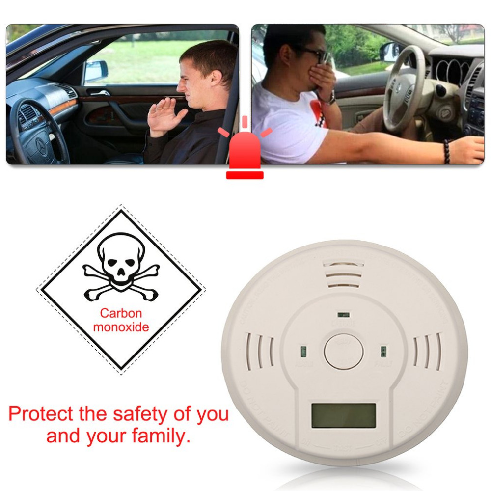 85db Carbon Monoxide Detector Sensor LCD Gas CO Alarm Tester Warn Battery Powered Loud and Flash Alarm Lndicator Safety