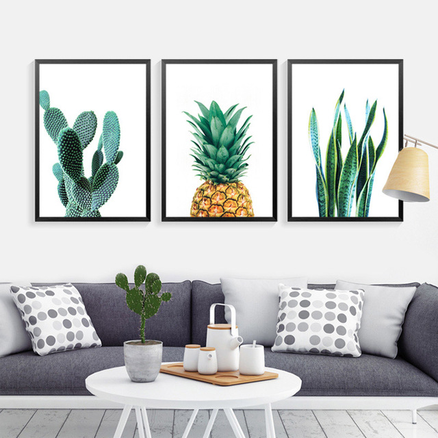 Kaktus Wandkunst Leinwand Dekorative Bilder Ananas Grünpflanzen ...