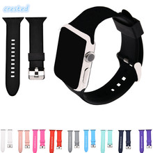 CRESTED sport silicone watch strap for apple watch band 42 mm/38 rubber bracelet wrist band men for iwatch 1 2 with adapter