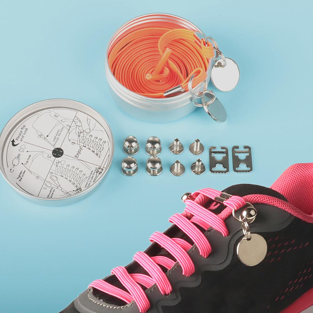купить 1 Pair One Hand No Tie Laziness Shoelaces Metal Circle Elastic Candy Color Laces недорого