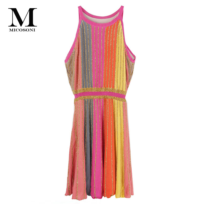 Micosoni Italianism Orange Pink Yellow Gray Stripe with Gold Thread 2018 New Arrivals and The Design