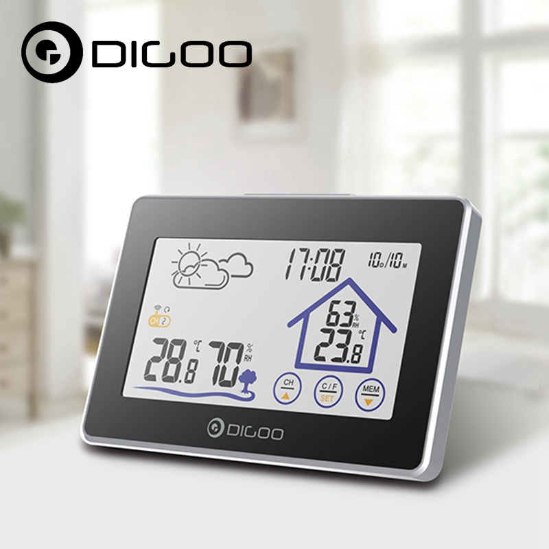 Digoo DG-TH8380 Wireless Touch Screen Weather Station Thermometer Outdoor Forecast Sensor Clock for Outgoing digoo dg th1177 th1177 wireless digital