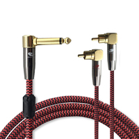 Right Angle 6 35mm RCA Audio Cable Hifi 1 4 MONO TRS Jack To 2 RCA