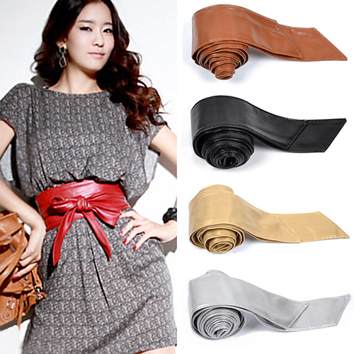 Hot Women's Ladies Faux Leather Bowknot  Corset Tie Cinch Cummerbunds 8O4R