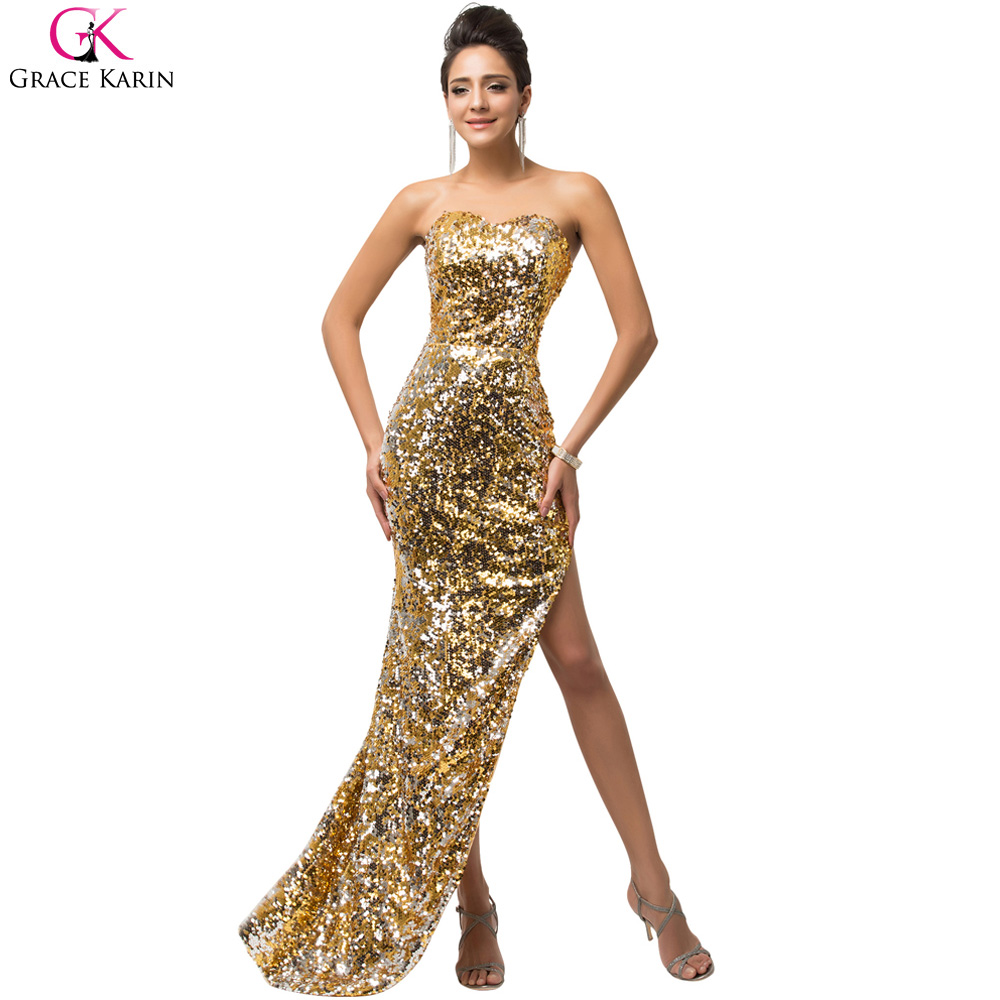 Grace Karin Shining Sequined Mermaid Evening Dresses Long Party Gold ...