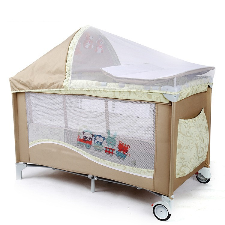 High Quality Multifunctional Infant Baby Cribs With Trolley Netting Diaper Changing Table Toys Portable Safety Baby Game Beds  цена и фото