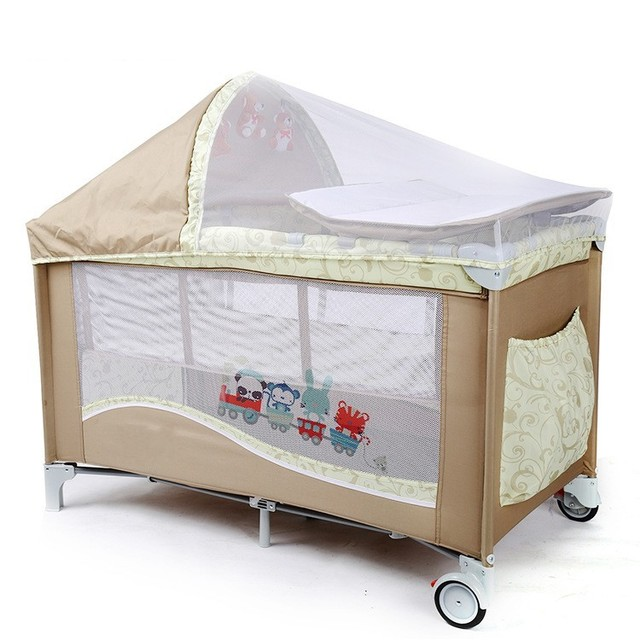 High Quality Multifunctional Infant Baby Cribs With Trolley Netting Diaper Changing  Table Toys Portable Safety Baby