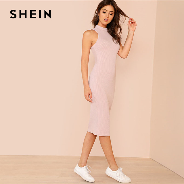 SHEIN Pink Mock Neck Rib Knit Plain Pencil Dress Women Stand Collar Sleeveless Slim Dress 2018 Elegant Going Out Bodycon Dress 3