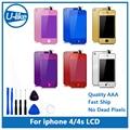 Espelho colorido lcd display & touch screen digitador & home button & capa para iphone 4g/4s
