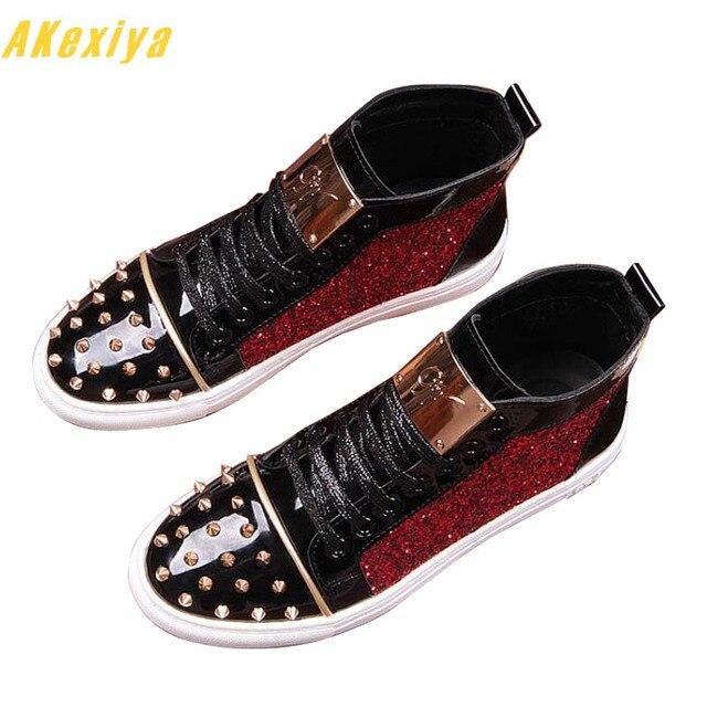 Yeni varış sequins perçin sac Rahat Platformu yüksek top ayakkabı Daireler Erkek Tasarımcı balo Elbise loafer ayakkabılar zapatos hombre