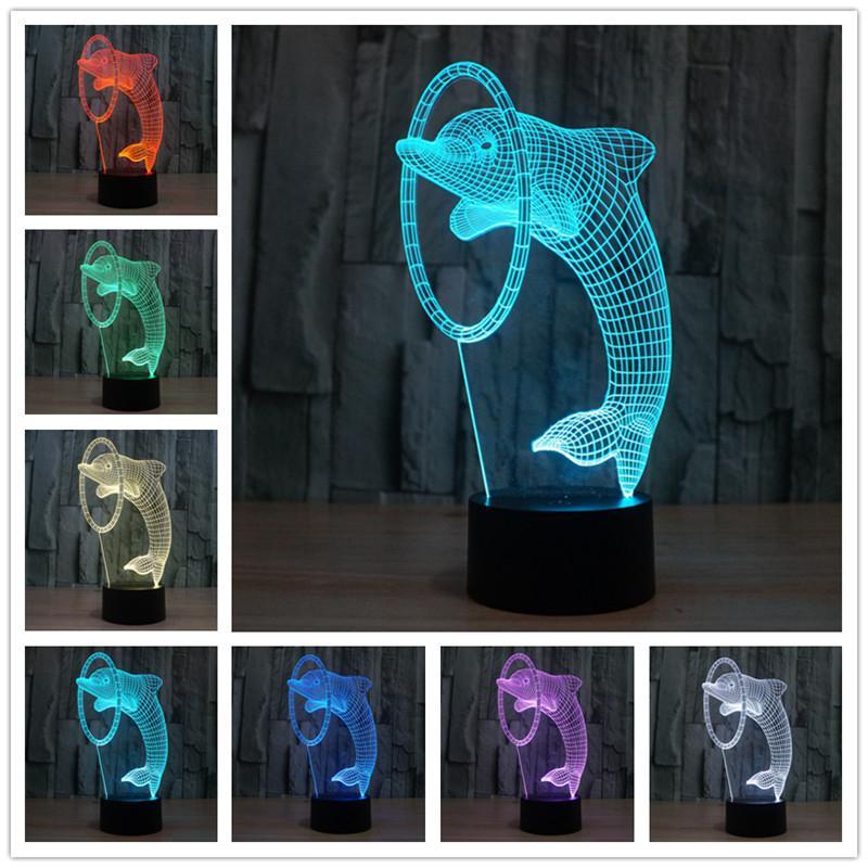 3d Weihnachtsbeleuchtung.Us 11 77 39 Off 3d Illusion Led Nachtlicht 7 Farben Delphin Tischlampe Novelty Produkte Weihnachtsbeleuchtung Mit Touch Taste Kinder Nachtlicht In