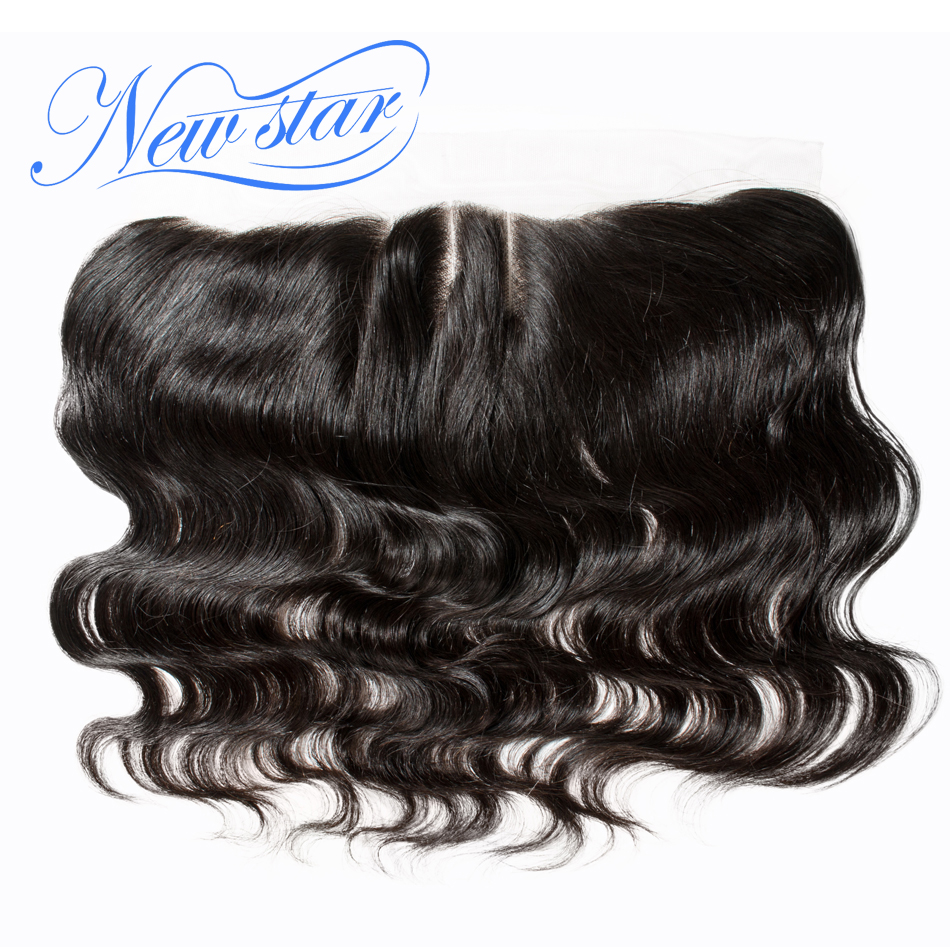 Closures Lace-Frontal Human-Hair Body-Wave Pre-Plucked Natural-Color Brazilian 100%Virgin