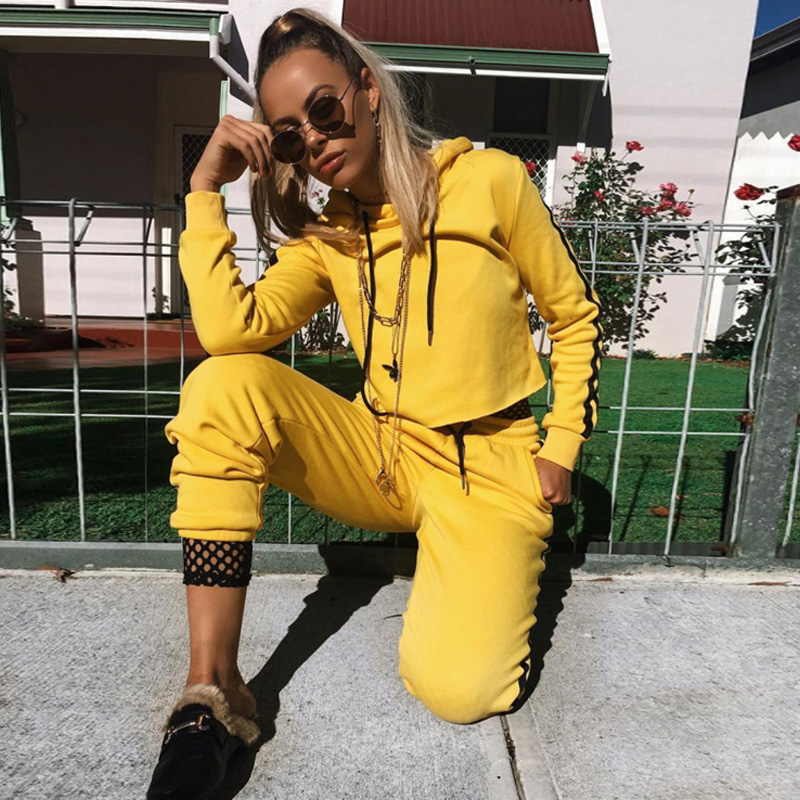 2018 Autumn Women Hoodies Sportswear Sweatshirts Winter Warm Fleece Female Hooded Sweatshirt Cropp Top Pants Suit 2pcs Tracksuit