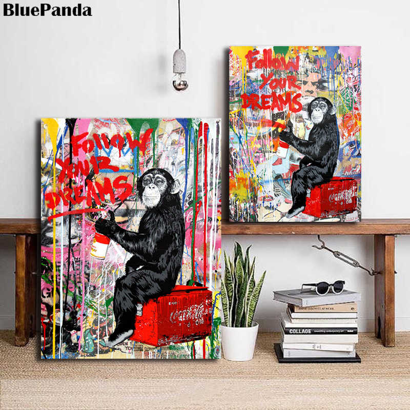 Mr. Brainwash Monkey Follow Your Dreams Street Art Banksy Poster Painting On Canvas Bedroom Wall Decoration Pictures Home Decor