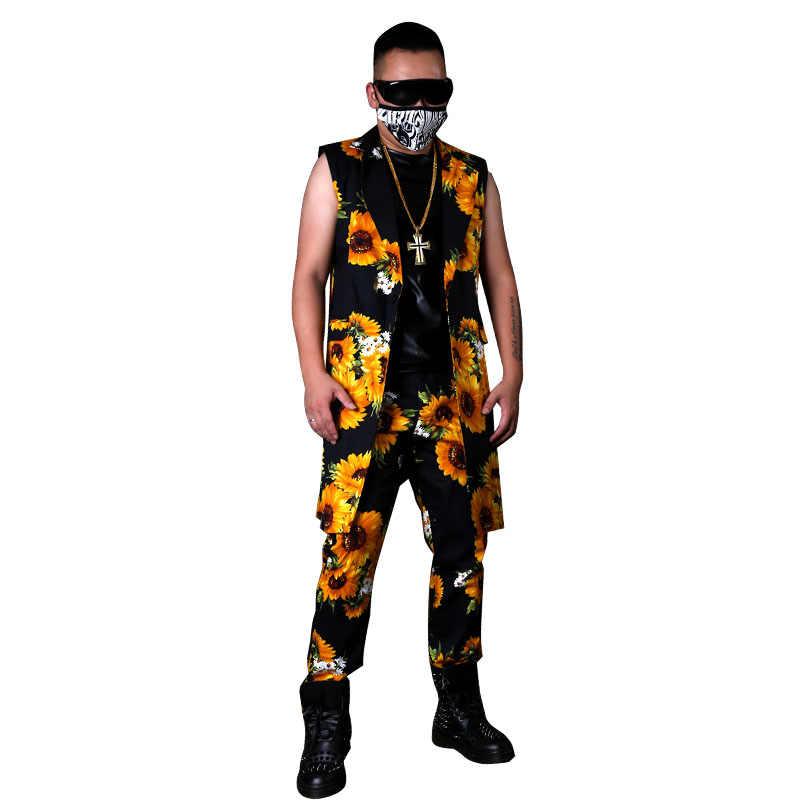 Для мужчин Повседневные комплекты одежды комплекты (жилет + брюки) подсолнечное Длинный блейзер жилет певец DJ танцор хип-хоп Стиль пиджак этап Костюмы