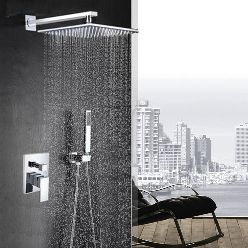 Polished Chrome 8 inch Rain Shower Faucet Single Handle Concealed Bath Shower Set with ABS Handshower Wall Mounted цены