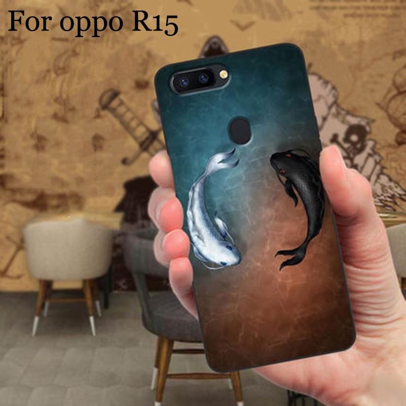2PCS Fashion cartoon phone cases For oppo R15 case TPU soft back cover For oppo R 15 shell case cover full capas fundas