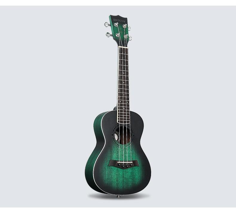 23 inch Green Mahogany Ukulele Hawaiian Guitar Uke For Beginner Adult With Bag/Strap/Tuner/Strings/Picks afanti music mahogany 23 inch ukulele dga 224