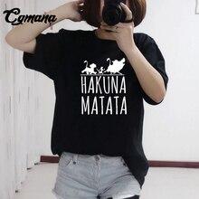 hot deal buy cgmana hakuna matata printed t-shirt 2018 hot summer homme lion king t-shirt harajuku t shirt women tops tees female funny tees