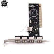 Новые поступления USB 2,0 4 порта 480 Мбит/с высокая скорость через концентратор PCI контроллер карты адаптер PCI карты