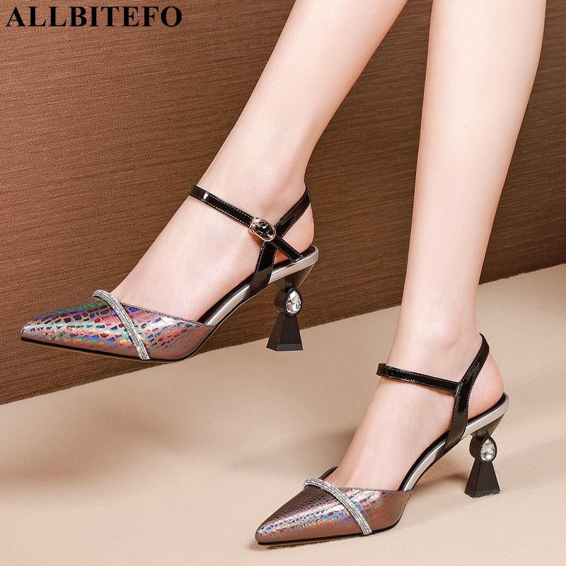 ALLBITEFO fashion Rhinestone genuine leather sexy high heels women sandals women high heel shoes party women shoes size:33 42-in High Heels from Shoes    1