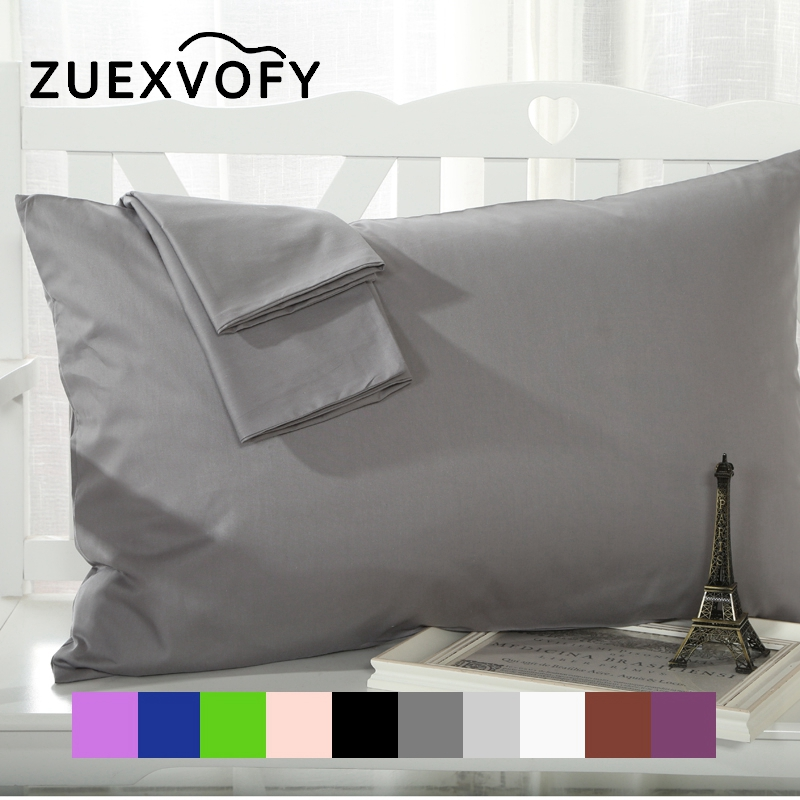 Pure Cotton 2PCS <font><b>Pillow</b></font> <font><b>Case</b></font> 70*70 50*70 50*75 Solid Pillowcase Decorative <font><b>Pillow</b></font> Cover Bedding for Hotel Wedding Gray White image