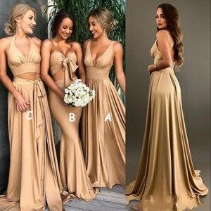 Сексуальные золотые платья подружки невесты А-силуэта с v-образным вырезом, длинные пляжные платья в стиле бохо, платья невесты размера плюс...