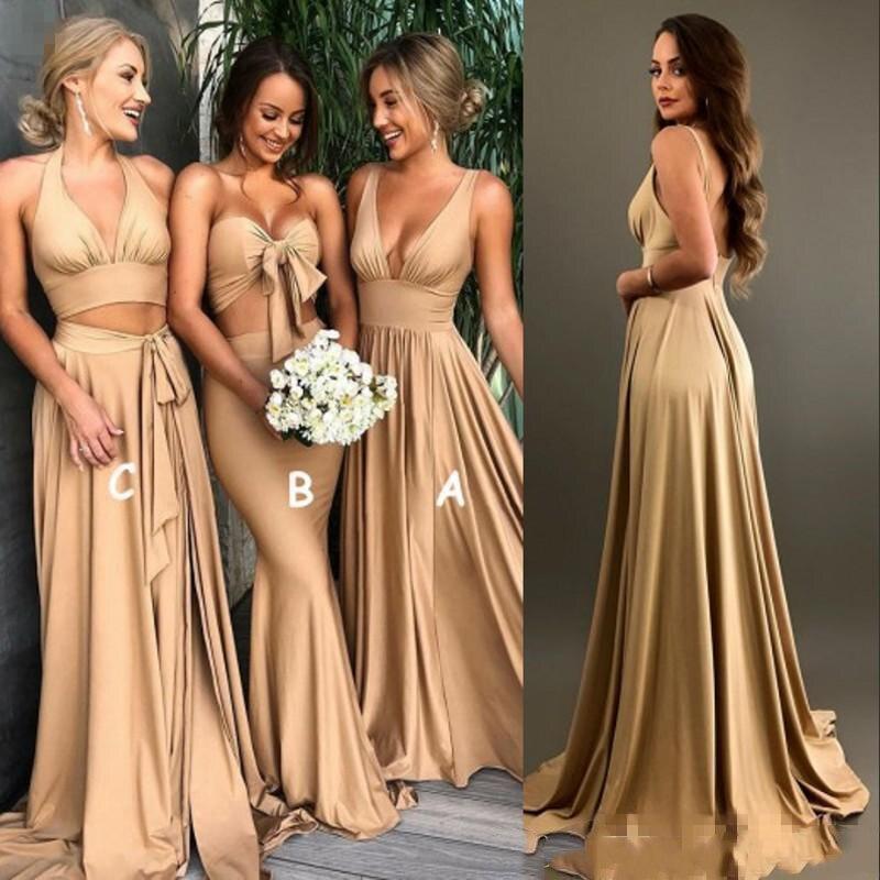 セクシーなゴールドウエディングドレス A ライン V ネックロング自由奔放に生きる国ビーチメイド名誉のガウンプラスサイズ結婚式のゲスト着ている  グループ上の ウェディング & イベント からの ブライドメイドドレス の中 1