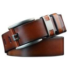 Vintage Designer Leather Men Belt Fashion Male Strap Jeans for Man 3.7 CM Wide Waist Belts