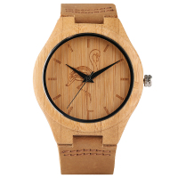 YISUYA Crane Cat Dog Theme Bamboo Wood Men S Wrist Watch Casual Nature Yellow Wooden Quartz