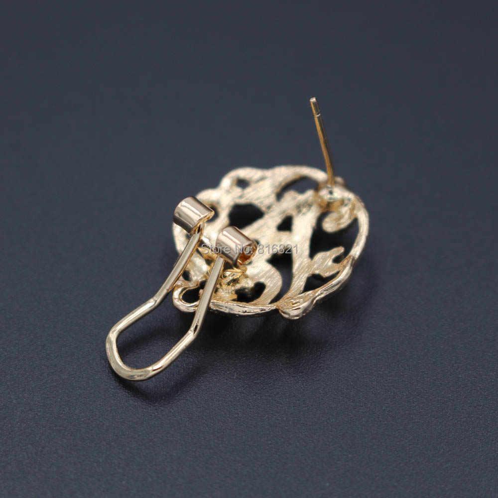 Afrikanische Clip Ohrringe Post mit Schleife Aufhänger Hohl Filigrane Blume Basen DIY Metall Arabischen Indische Chile Ohrringe Erkenntnisse 19 x 22mm