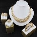 Африканских женщин Свадебный комплект Ювелирных Изделий с позолоченными кристалл ожерелье серьги браслеты кольца