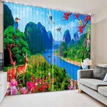 3D Curtain Photo Customize Size Mountain River Deer Scenery Bed room Living Room Office Hotel Cortinas Curtain Decoration